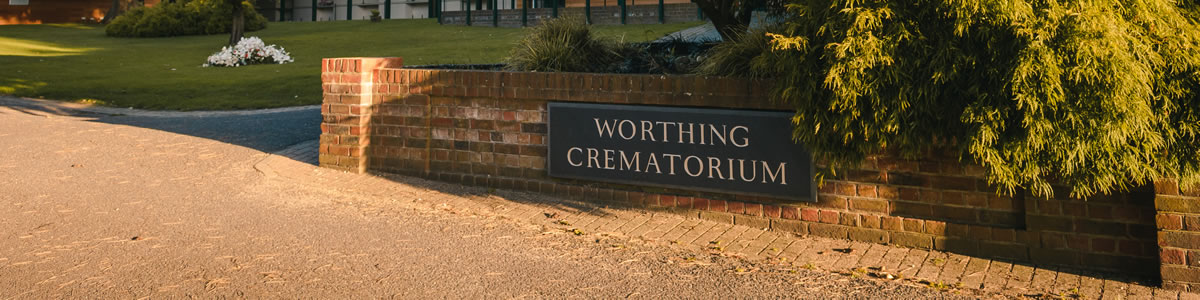 Crematorium sign on wall