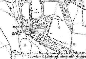 Muntham Court on old map - Extract from County Series Epoch 2 - 1891-1912 - Copyright LandMark Information Group